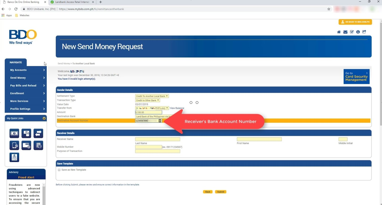 bdo online transfer to other bank